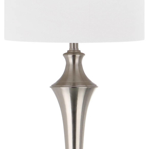 Safavieh Chesterfield 65 in. Nickel Floor Lamp with White Shade