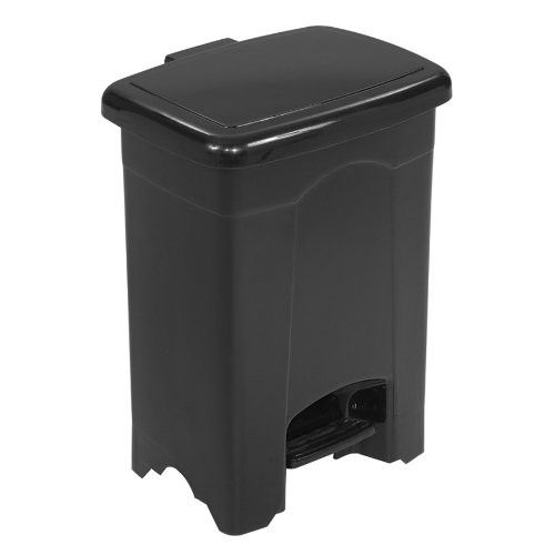 Safco Products 9710BL Plastic Step-On Waste Receptacle, 4-Gallon, Black [Black]