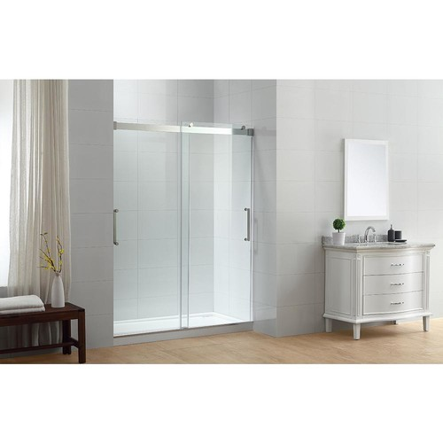 OVE Decors Beacon 60 in. x 78 in. Semi-Frameless Sliding Shower Door in Chrome with Handle