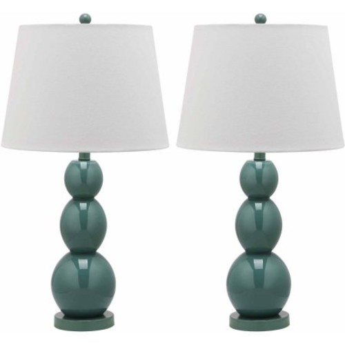 Jayne Three Sphere Glass 1-light Pearl White Table Lamps (Set of 2)
