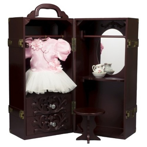 The Queen's Treasures Doll Trunk Storage Case for 18 Inch Dolls, Clothing, Shoes & Accessories.Mahogany Stained Wood with Removable Vanity, Stool Plus 4 Clothing Hangers