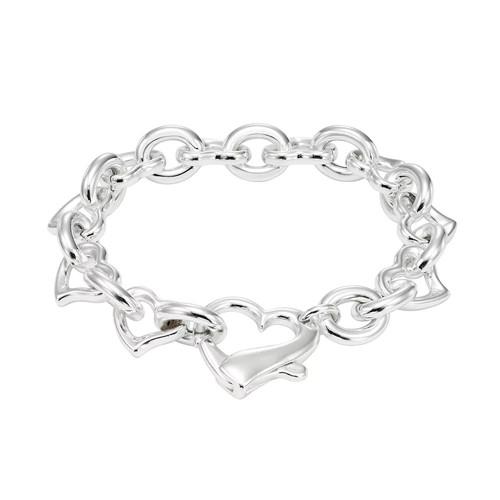 Sterling Silver Heart & Oval Link Bracelet