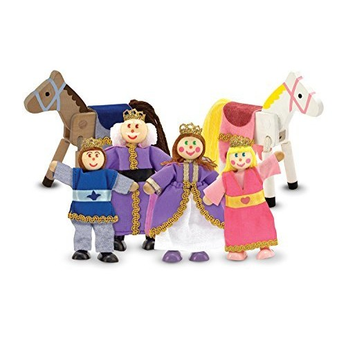Melissa & Doug Royal Family Wooden Poseable Doll Set for Castle and Dollhouse
