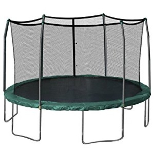 Skywalker Trampolines 15-Feet Round Trampoline and Enclosure with Spring Pad [Green]