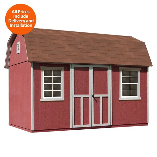 Handy Home Products 12 ft. x 8 ft. Installed Briarwood Deluxe Wood Storage with Upgrades and Driftwood Shingles Shed