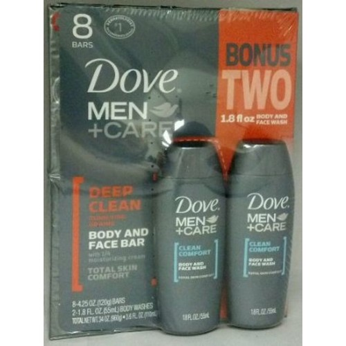Dove Body and Face Bar Soap, Deep Clean, Total Skin Comfort, 37.6 oz