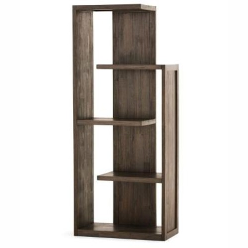 Simpli Home Monroe Distressed Charcoal Brown Open Bookcase