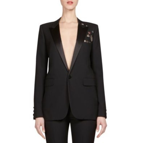 SAINT LAURENT Embellished Gabardine Blazer