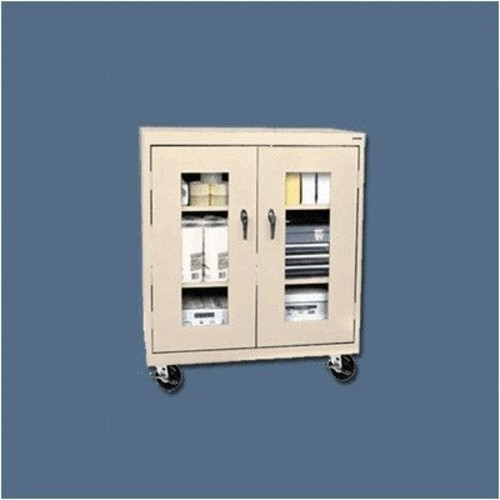 Sandusky Lee TA2V361842-08 Elite Series Transport Mobile Clear View Counter Height Storage Cabinet, Forest Green