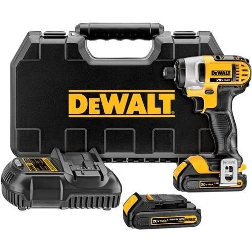 DEWALT DCF885C2 20-Volt MAX Lithium Ion 1/4-Inch 1.5 Ah Impact Driver Kit [Impact driver w/ 2 batteries]