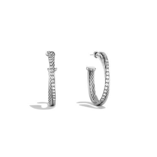 Crossover Hoop Earrings with Diamonds