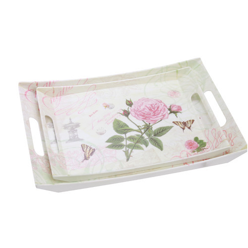 Rose 2 Piece Double Handle Serving Tray Set