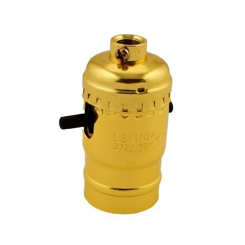 Leviton 6098-PG Medium Base Complete, Aluminum Shell Incandescent Lampholder, Push-Through, Single Circuit, 1/8IPs Tapped Bushing, Brass [1 Pack]