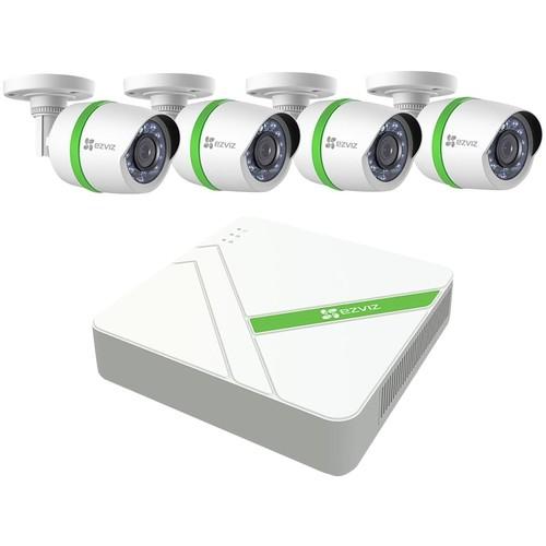 EZVIZ - 4-Channel, 4-Camera Indoor/Outdoor Wired 1080p 1TB DVR Surveillance System - Gray/White