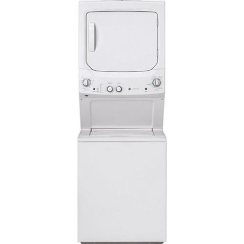 GE GUD27GSSMWW Unitized Spacemaker 3.8 DOE cu. ft. Stainless Steel Washer and 5.9 cu. ft. Gas Dryer