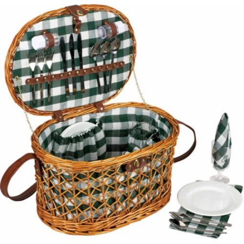 Household Essentials Woven Willow Picnic Basket, Oval Shaped, Fully Lined, Service for 4 [Small Oval Basket with Accs.]