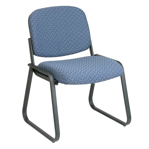 Office Star Deluxe Sled Base Fabric Visitors Chair with Designer Plastic Shell Back, Cadet [Cadet, No Arms]