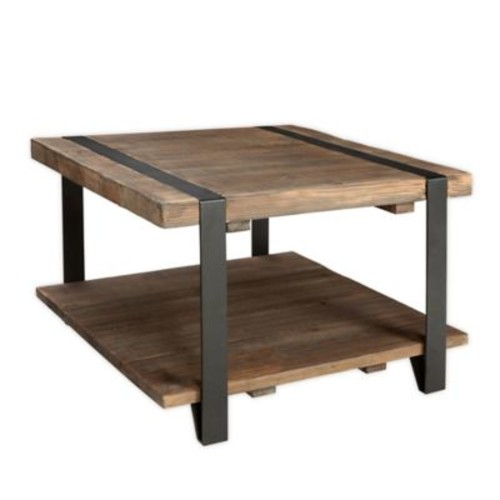 Modesto Metal and Reclaimed Wood Square Coffee Table