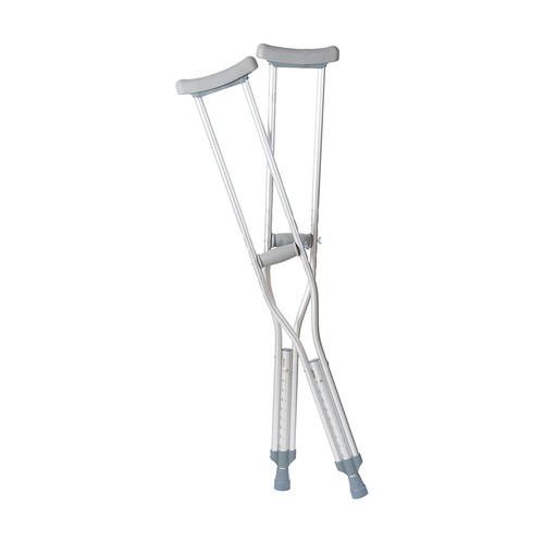 DMI Crutches, Push Button Adjustable Crutches, Aluminum Crutches with Pads, Tips, and Handgrips Accessories, Adult 5 foot 2 to 5 foot 10, Silver and Gray [Adult]