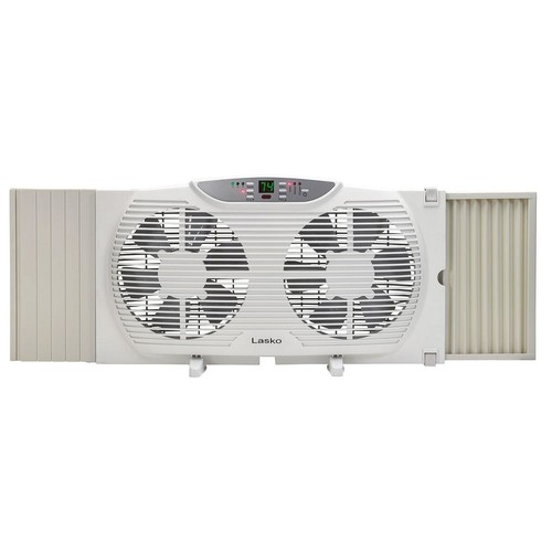 Lasko 9 in. Remote Control Electronically Reversible Twin Window Fan with Thermostat