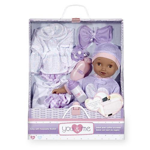 You & Me 14 inch Purple Baby with Keepsake Basket Set - Ethnic