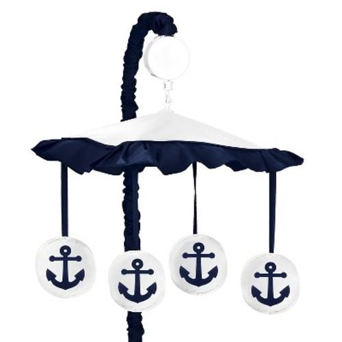 Sweet Jojo Designs Anchors Away Nautical Navy and White Musical Baby Crib Mobile