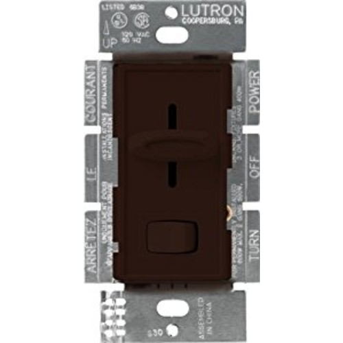 Lutron S-600P-BR Skylark Single Pole Dimmer with On/Off Switch, 600-watt, Brown [Brown]
