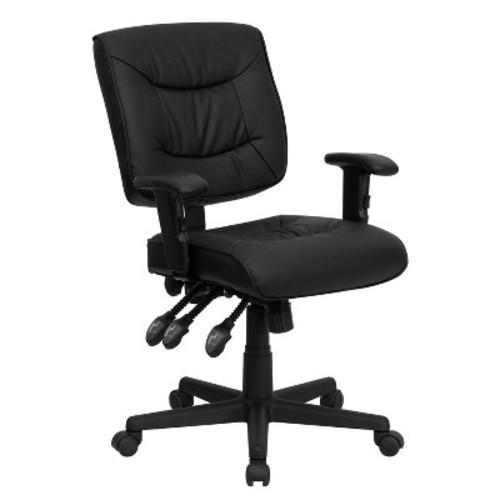 Multi-Functional Swivel Task Chair Black Leather - Flash Furniture