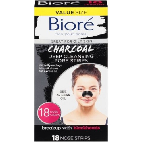 Biore Deep Cleansing Charcoal Pore Strips, 18 count