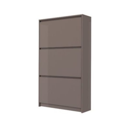 Rebrilliant Bright 16-Pair Shoe Storage Cabinet; Mocha High Gloss