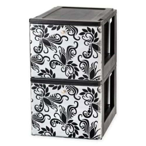 IRIS Stacking File Storage Drawer in Black/White (Set of 2)