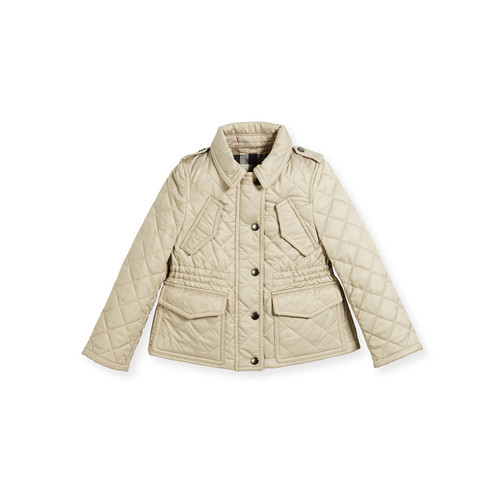 BURBERRY Neals Quilted Button-Front Jacket, Size 4