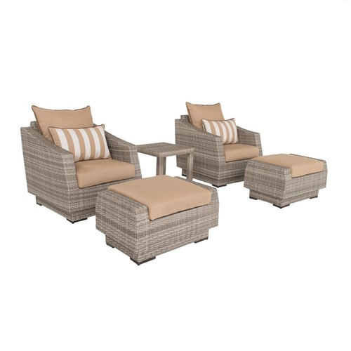 RST Brands Cannes 5-Piece All-Weather Wicker Patio Club Chair and Ottoman Conversation Set with Maxim Beige Cushions