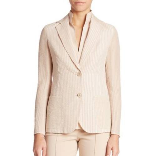 AKRIS Insa Cotton & Silk Seersucker Jacket