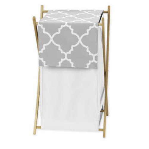 Sweet Jojo Designs Grey and White Lattice Laundry Hamper