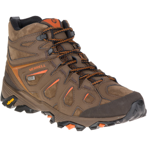 MERRELL Men's Moab FST Leather Mid Hiking Boots, Waterproof, Dark Earth