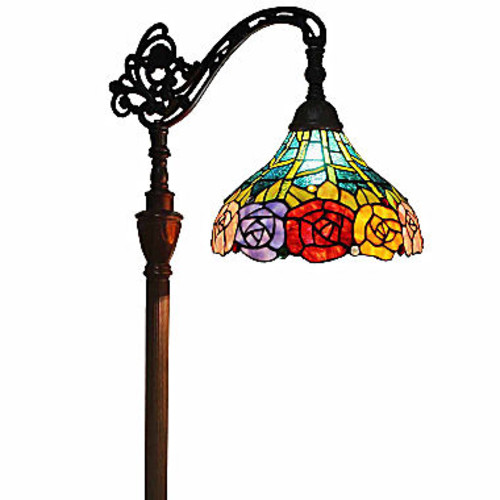 Amora Lighting AM035FL12 Tiffany Style 62-inch Roses Reading Floor Lamp