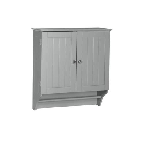 RiverRidge Home Ashland 23-4/5 in. W x 25-2/5 in. H x 8-43/50 in. D 2-Door Bathroom Storage Wall Cabinet in Gray