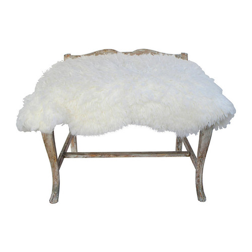 Antique French Lambswool Bench