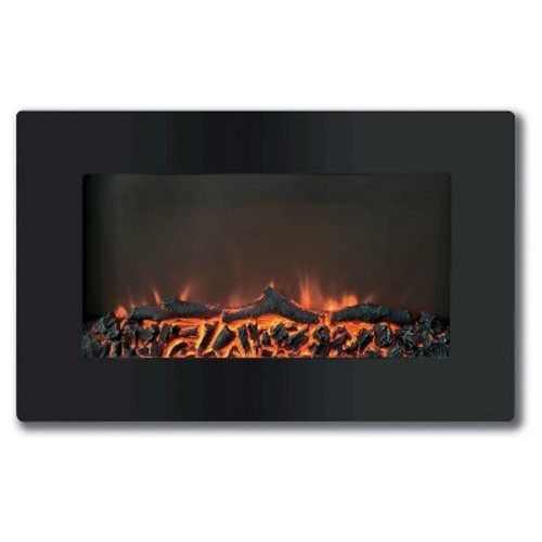 Cambridge CAM30WMEF-2BLK Callisto 30 In. Wall-Mount Electronic Fireplace with Flat-Panel and Realistic Logs