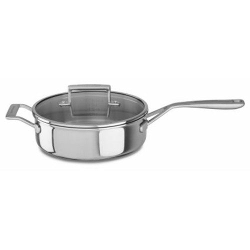 KitchenAid Tri-Ply Stainless Steel Saut Pan with Lid, 3.5 qt.