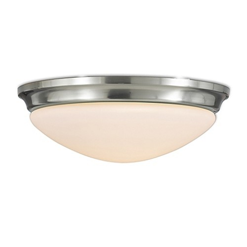 Feiss Barrington 1-Light Flush-Mount Ceiling Fixture in Brushed Steel with Glass Shade