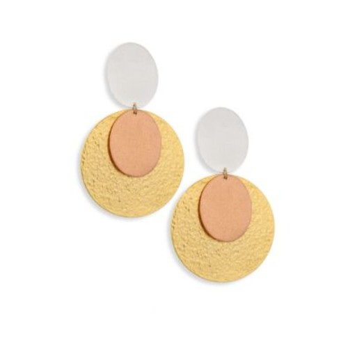 Sunset Tri-Tone Double-Drop Clip-On Earrings