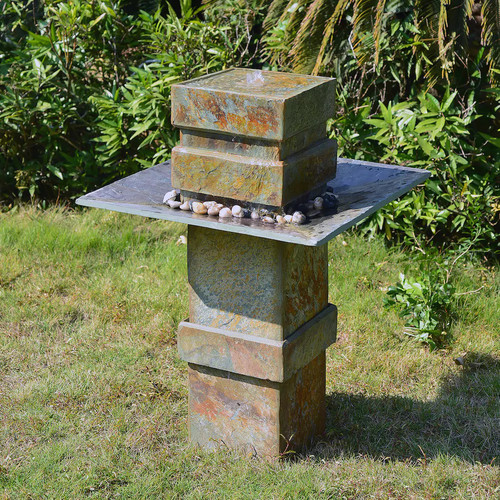 Kenroy Home Cubist Outdoor Floor Fountain in Natural Slate finish is 32.75