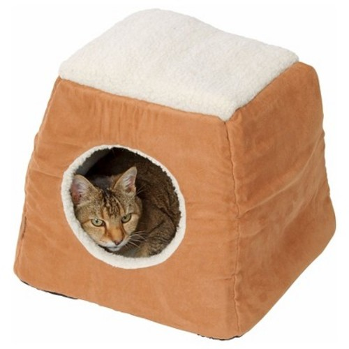 House of Paws Tan Faux Suede/Sheepskin 2-in-1 Cat Bed