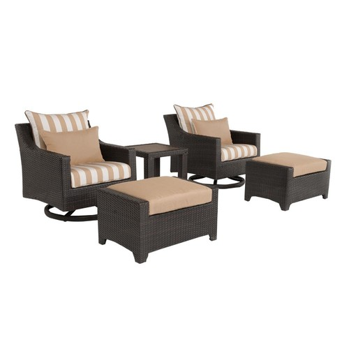RST Brands Deco 5-Piece All-Weather Wicker Patio Motion Club and Ottoman Conversation Set with Maxim Beige Cushions