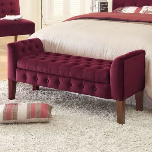 HomePop Tufted Velvet Storage Bench