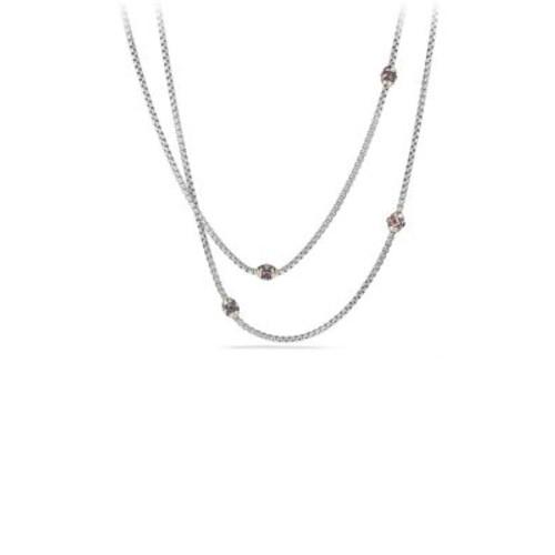 Renaissance Necklace with Pink Tourmaline, Rhodalite Garnet and 18K G