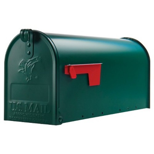 Gibraltar Mailboxes Elite Medium Capacity Galvanized Steel Green, Post-Mount Mailbox, E1100G00 [Green]