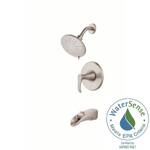 Pfister Brea Single-Handle 3-Spray Tub and Shower Faucet in Brushed Nickel with Waterfall Spout (Valve Included)
